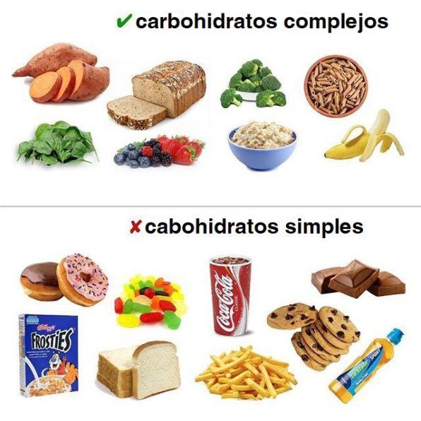 Diversos productos que entran en las categorías de carbohidratos complejos o carbohidratos simples
