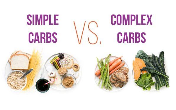 Pan, cereales, pastas, pasteles y bebidas azucaradas como carbohidratos simples y versuras como carbohidratos complejos